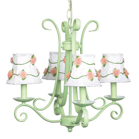 4-Arm Modern Green Harp Chandelier (optional Floral Shades)