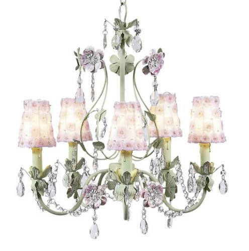 5-Arm Green and Lavender Flower Garden Chandelier (optional White/Pink Floral Shades)