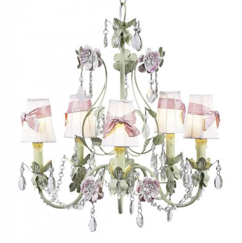 5-Arm Green and Lavender Flower Garden Chandelier (optional Pink/White Shades)