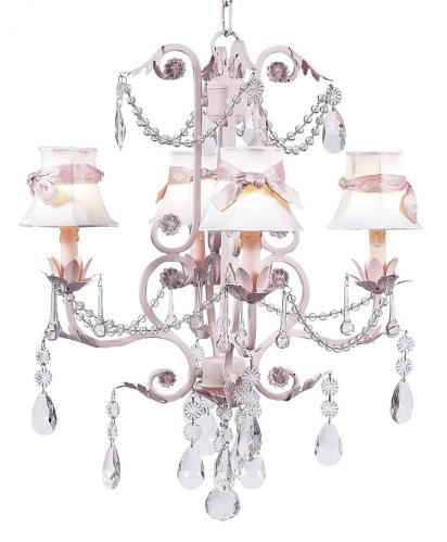 4-Arm Pink Valentino Chandelier (optional Ivory/Pink Shades)