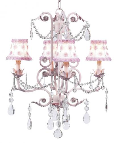 4-Arm Pink Valentino Chandelier (optional Pink Floral Shades)