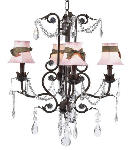 Mocha Valentino Chandelier (optional Pink Shades)
