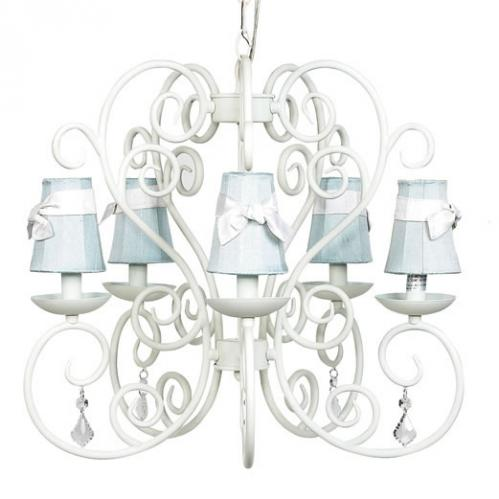 White Carriage 5-Arm Chandelier (optional Blue Shades)