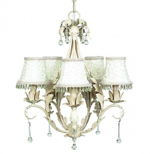 Antique Ivory Caesar 5-Arm Chandelier (optional Ivory Shades)