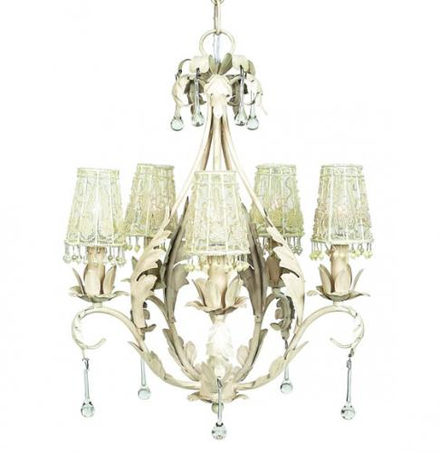 Antique Ivory Caesar 5-Arm Chandelier (optional Flower Tulle Shades)