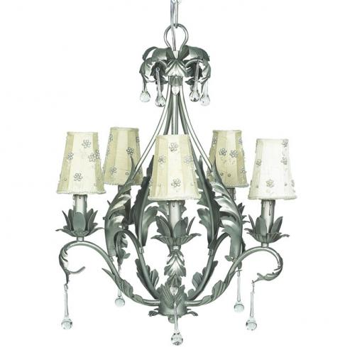 Pewter Caesar 5-Arm Chandelier (optional Ivory Daisy Pearl Shades)