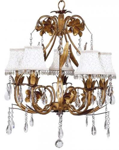 Gold 5-Arm Ballroom Chandelier (optional White Shades)