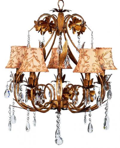 Gold 5-Arm Ballroom Chandelier (optional Gold Jeweled Shades)