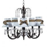 Mocha 5-Arm Waterfall Chandelier (optional Blue/Mocha Shades)
