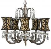 Mocha 5-Arm Waterfall Chandelier (optional Cheetah Shades)