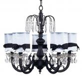 Black 5-Arm Waterfall Chandelier (optional Blue Shades)