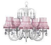 White 5-Arm Waterfall Chandelier (optional Pink Shades)