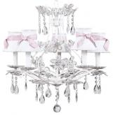White 5-Arm Cinderella Chandelier (optional White/Pink Shades)