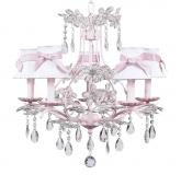 Pink 5-Arm Cinderella Chandelier (optional White/Pink Shades)