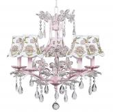 Pink 5-Arm Cinderella Chandelier (optional Floral Shades)