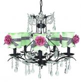 Black 5-Arm Cinderella Chandelier (optional Rose Shades)