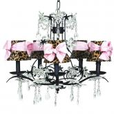 Black 5-Arm Cinderella Chandelier (optional Cheetah Shades)