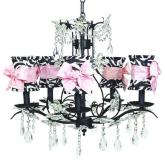 Black 5-Arm Cinderella Chandelier (optional Zebra Shades)