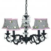 Black 5-Arm Glass Turret Chandelier (optional Gingham Shades)
