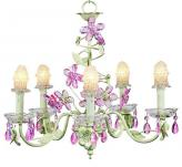5-Arm Soft Green Crystal Flower Chandelier (optional Clear Bulb Covers)