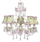5-Arm Flower Garden Chandelier in Ivory, Sage & Pink (optional Gingham Shades)