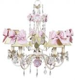 5-Arm Flower Garden Chandelier in Ivory, Sage & Pink (optional Sage Shades)