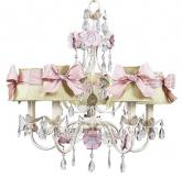 5-Arm Flower Garden Chandelier in Ivory, Sage & Pink (optional Sage/Pink Shades)