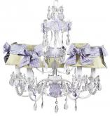 5-Arm Flower Garden Chandelier in Lavender & White (optional Gingham Shades)