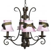 4-Arm Mocha Harp Chandelier (optional Pink Shades)