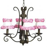 4-Arm Mocha Harp Chandelier (optional Pink Floral Shades)