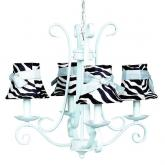 4-Arm Blue Harp Chandelier (optional Zebra Shades)