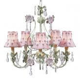5-Arm Green and Lavender Flower Garden Chandelier (optional Pink Floral Shades)