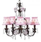 Pink and Brown Flower Garden Chandelier (optional Pink Floral Shades)