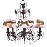Flower Garden Pink and Brown Chandelier (optional Pink/Brown Shades)