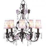 5-Arm Mocha & Pink Flower Garden Chandelier (optional Pink Floral Shades)