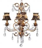 4-Arm Gold Valentino Chandelier (optional Cheetah Shades)