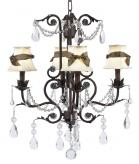 4-Arm Mocha Valentino Chandelier (optional Ivory Shades)
