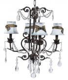 4-Arm Mocha Valentino Chandelier (optional Blue Shades)
