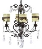 4-Arm Mocha Valentino Chandelier (optional Sage Green Shades)