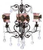 4-Arm Mocha Valentino Chandelier (optional Pink Hourglass Shades)