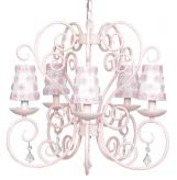 Pink Carriage 5-Arm Chandelier (optional White Floral Shades)