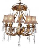 Gold 5-Arm Ballroom Chandelier (optional Flower Tulle Shades)