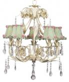 Ivory 5-Arm Ballroom Chandelier (optional Green Gingham Shades)