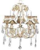 Ivory 5-Arm Ballroom Chandelier (optional Brown Gingham Shades)