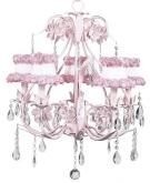 Pink 5-Arm Ballroom Chandelier (optional Ring of Roses Shades)