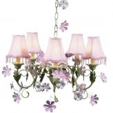 Pink/Green Leaf & Flower 5-Arm Chandelier (optional Pink Pearl Flower Shades)