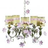 Pink/Green Leaf & Flower 5-Arm Chandelier (optional Green/Pink Shades)