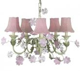 Pink/Green Leaf & Flower 5-Arm Chandelier (optional Pink Beaded Shades)
