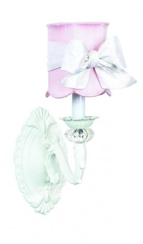 White Turret Wall Sconce shown with Pink Shade by Jubilee