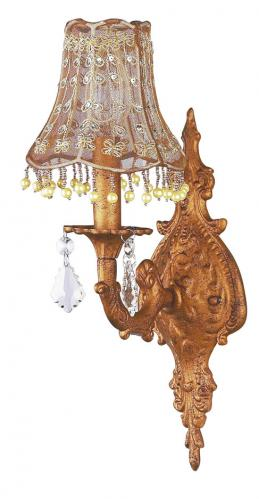 Antique Gold Scroll Wall Sconce shown with Vine Pearl Shade by Jubilee